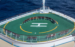 Green Helicopter Pad on Bow of Cruise Ship Stock Photos