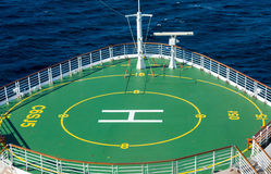 Green Helicopter Pad on Bow of Ship Stock Photography