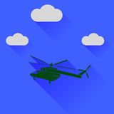 Green Helicopter Silhouette. On Blue Sky Background. Long Shadow Stock Photo
