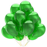 Green helium ballons (Hi-Res). Party Helium balloons green and shiny. Anniversary concept. Flying up positive emotions. Happy Birthday greetings. This is a Royalty Free Stock Image