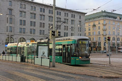 Green Helsinki Tram in City Royalty Free Stock Photos