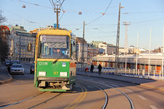 Green Helsinki Tram, Finland Royalty Free Stock Photography