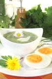 Green herb soup with a dollop of cream Stock Photos