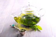 Green herbal healthy tea stock photo
