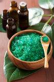 Green herbal salt and essential oils for spa bath Royalty Free Stock Photography