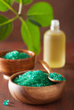Green herbal salt for healthy spa bath Stock Photo
