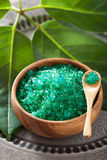 Green herbal salt for healthy spa bath Royalty Free Stock Photos