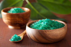 Green herbal salt for healthy spa bath Royalty Free Stock Photo