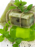 Green herbal soaps Stock Image
