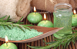 Green herbal spa. With seasalt and rosemary Royalty Free Stock Images
