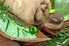 Green herbal spa. With seasalt and rosemary Stock Image