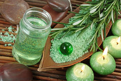 Green herbal spa. With seasalt and candle Royalty Free Stock Images