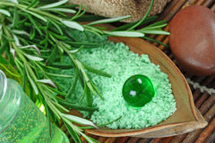 Green herbal spa. With seasalt and rosemary Stock Images