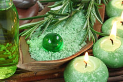 Green herbal spa. With seasalt and candle Royalty Free Stock Photography
