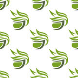 Green or herbal tea cups seamless pattern Stock Photo