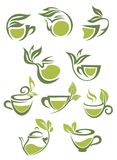 Green or herbal tea icons Stock Images