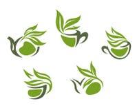 Green herbal tea symbols Stock Photo
