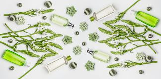 Green herbal vegan natural cosmetic setting with bottles of skin care products with branding copy space, herbs and flowers. On white background , top view, flat stock photography