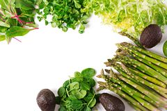 Green herbs, asparagus and black avocado on a white  background. Top view. Flat lay Royalty Free Stock Images