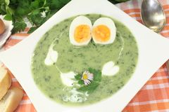 Green herbs soup with eggs Royalty Free Stock Photos