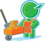 Green Hero with Cart of Bricks. Including Vector Format stock illustration