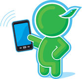 Green Hero with Cell Phone, Mobile, Touch Pad Stock Photos