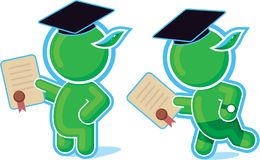 Green Hero with Diploma Royalty Free Stock Image