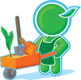 Green Hero with Garden Cart. Including Vector Format royalty free illustration