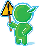 Green Hero handing Attention Sign Stock Photos