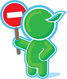 Green Hero handing Stop Sign Royalty Free Stock Image