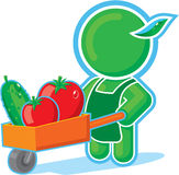 Green Hero with Harvest Cart. Including Vector Format royalty free illustration