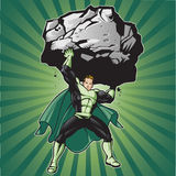 Green Hero Lift. Generic superhero figure lifting a large boulder.  Layered & easy to edit. See portfolio for similar images Stock Photos