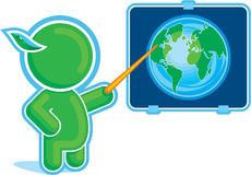 Green Hero pointing at the Globe. Including Vector Format stock illustration