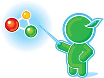 Green Hero pointing at Molecule, Chemical Formula. Including Vector Format royalty free illustration