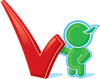 Green Hero with Positive Checkmark Stock Photo