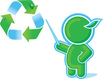 Green Hero with Recycle Symbol Royalty Free Stock Photos