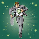 Green Hero in Suit Royalty Free Stock Photography