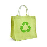 Green hessian or jute shopping bag Royalty Free Stock Photography