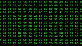 Green Hexadecimal code running up a computer screen.