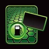 Green hexagon advertisement of a gas pump Stock Photography