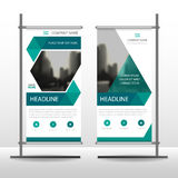 Green hexagon Business Roll Up Banner flat design template ,Abstract Geometric banner template Vector illustration set. Abstract presentation brochure flyer royalty free illustration