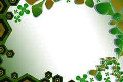 Green hexagon and leaves, abstract background Royalty Free Stock Photo