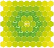 Green Hexagons Calendar 2011 Stock Photo