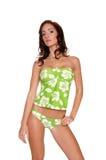 Green Hibiscus Bikini Stock Image
