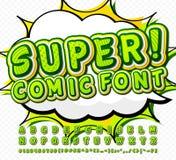 Green high detail comic font, alphabet. Comics, pop art royalty free illustration