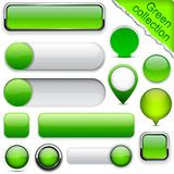Green high-detailed modern buttons. Royalty Free Stock Photo