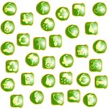 Green High-gloss eco buttons Stock Photo