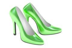 Green high heel shoes, 3D rendering royalty free illustration