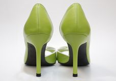 Green high heels, rear Stock Images