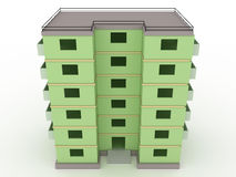 Green high-rise building without windows and doors  №1 Stock Image